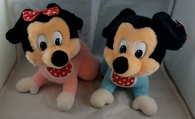 Disney Baby Mickey & Baby Minnie Mouse Crawling Plush 1984 Productions - MWT