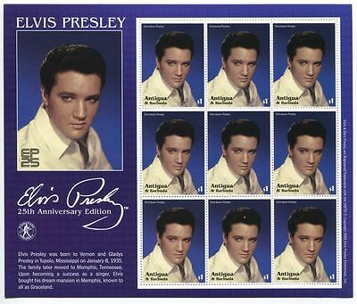 Elvis Presley 25th Anniversary Edition Amtiqua Barbuda $1 Stamp 9 Sheet 2002