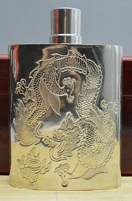 9 Oz Gram Purity 999 Pure Silver Solid Hand Made Dragon Flask Hip Signed