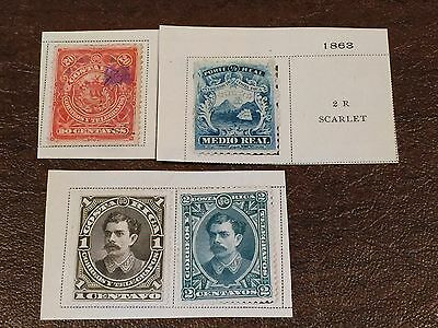 New/Unused Lot of 4 Vintage 1860's COSTA RICA Postage Stamps Mail Telegraph