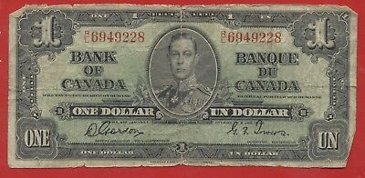 Bank of CANADA 1937 $1 dollar Signed Gordon & Towers, Prefix R/L  P.58