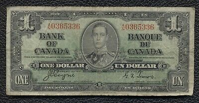 Bank of Canada 1937 $1 One Dollar Signed Coyne & Towers A/N Prefix