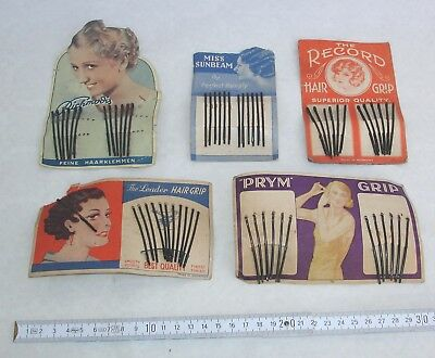5x Haarklemmen Hair Grip - um 1930 Art Déco original auf Karte