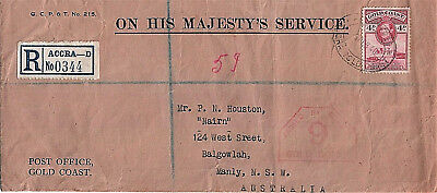 Registered Cover Gold Coast Africa - Australia 1940 Passed by Censor Back Stamps