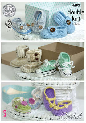 Crocheted Baby Shoes in King Cole Cherish and Cherished Baby DK Leaflet(4492)
