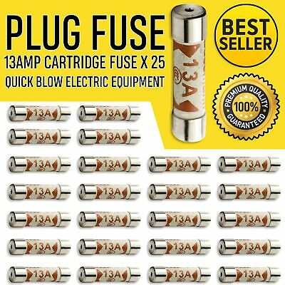 25x 13a Domestic Fuses Plug Top Household Mains 13amp Cartridge Fuse