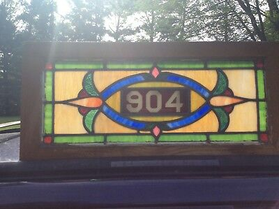 "Antique Stained Leaded Glass Transom Window 30"" by 14"" Circa 1900"