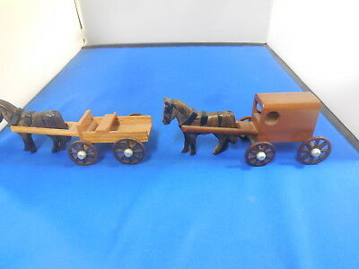 Set Of 2 Amish Wooden Toy Horse And Buggy / Wagon
