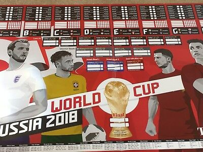 The Guardian Observer Football World Cup Russia 2018 UK WallChart Planner