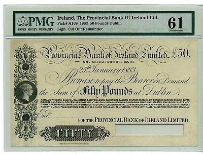 IRELAND 50 Pounds 1883 P-A109 ~ PMG 61 (UNC)