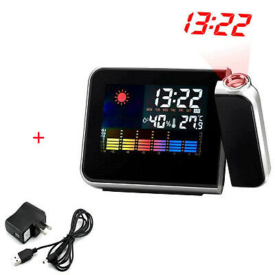 Projection Digital Weather LCD Snooze Alarm Clock Color Display LED Backlight FA