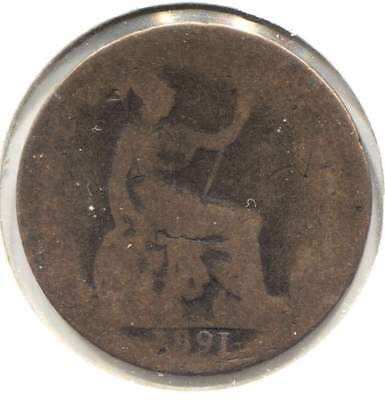 Great Britain 1891 Half Penny Coin - United Kingdom England Queen Victoria