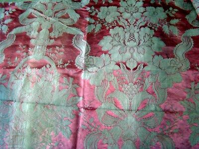 French antique silk fabric 19th-century pink flowers