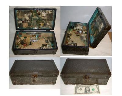 Victorian Memory Box Time Capsule Interior Collage Photos Fragments Tin Trunk