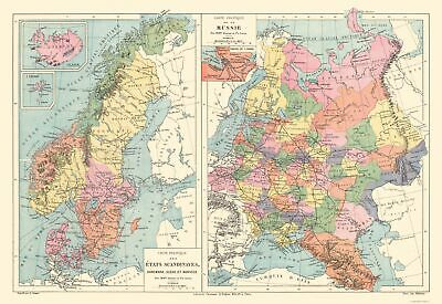 Europe Political of Scandanavia Russia - Drioux 1882 - 33.49 x 23