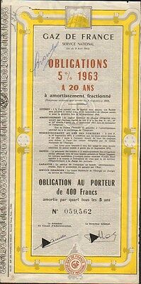 GAZ DE FRANCE, obligation 5% 1963 (K)