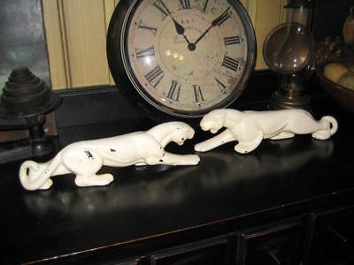 """Rare Vintage Art Deco Pair of (HAEGER ?) White Panther Figurines ~ 13"""" Long"""