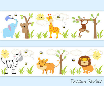 Safari Jungle Animals Nursery Wallpaper Border Wall Art Decals Baby Boy Stickers