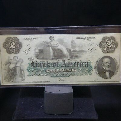 1800's $2 The Bank of America - Providence, RHODE ISLAND Note UNC