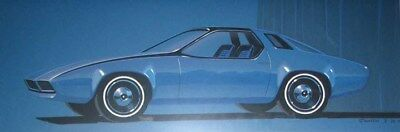 1974 Plymouth Sport Coupe Automobile ORIGINAL Styling Art Painting Samsen md1297