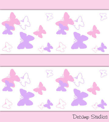 Pink Purple Butterfly Wallpaper Border Wall Art Decal Baby Girl Nursery Stickers