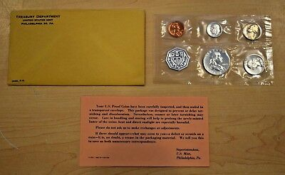 1963 United States Mint Philadelphia 5 Coin Proof Set w/ COA & Envelope PREOWNED