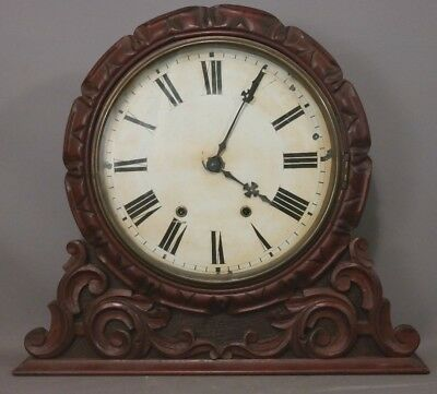 19thC Antique VICTORIAN Wood CARVED Scroll SCHOOL HOUSE LIBRARY Old MANTEL CLOCK