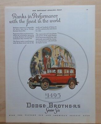 1928 magazine ad for Dodge - Senior Six, Ranks in Performance with finest
