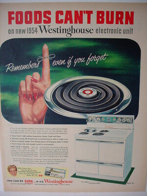 1954 Westinghouse Stove Range Foods can't Burn on new WH Vintage Print Ad 00281
