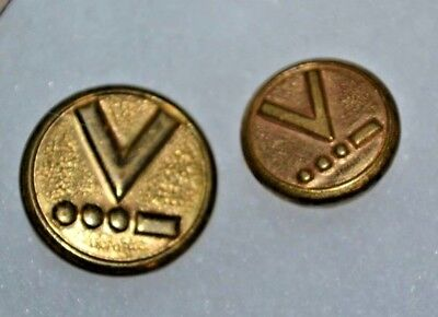 2 Vintage WWII Brass V is for Victory Morse Code Uniform Buttons