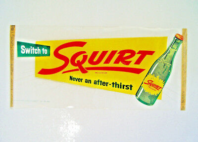 Neat Original 1955 Squirt Soda Pop Advertising Sign & Bottle Ready To Display