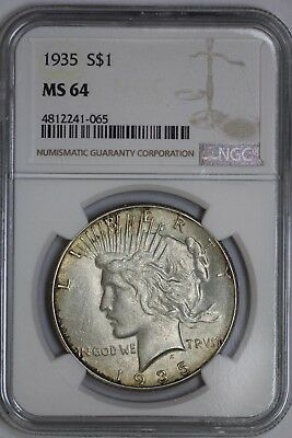 1935 Silver Peace Dollar MS64 NGC US Mint $1 Coin #065