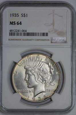 1935 Silver Peace Dollar MS64 NGC US Mint $1 Coin #064