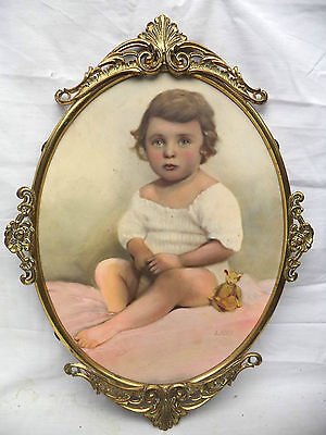 Antique Little Girl & Teddy Bear Painting in Rococo Metal Oval Frame Signed Land