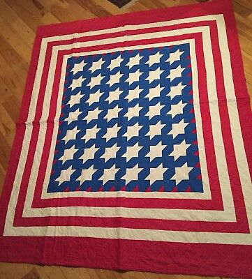 """NEW Hand Made Large Patriotic Red White Blue Quilt 99""""x84"""" REVERSIBLE"""