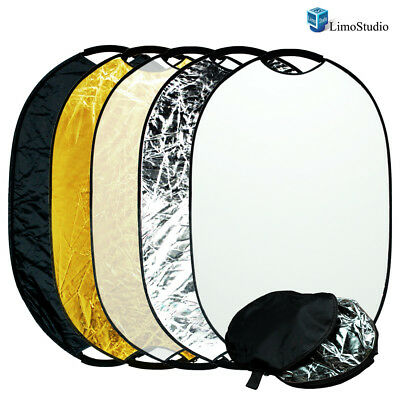 "Photo Studio 24"" x 36""  5-in-1 Collapsible Lighting Reflector Oval Panel Disc"
