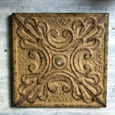 """11"""" x 11"""" 1890's Wrapped Tin Ceiling Tile Reclaimed Salvage Buckskin  221-18"""