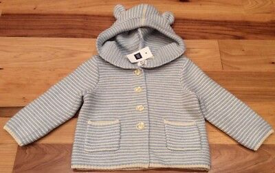 Baby Gap Boys 0-3 Months Light Blue & White Striped Sweater With Bear Ears. Nwt