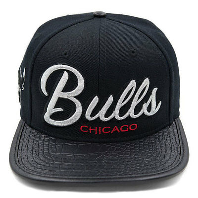 detailed look 1bcea a802d Pro Standard Men s NBA Chicago Bulls Script Leather Strapback Hat W  Pin  Black