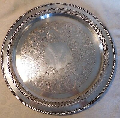 "VINTAGE 15"" SILVER SERVING TRAY Wm ROGERS 162 PIERCED BORDER ROPE BRAID RIM"