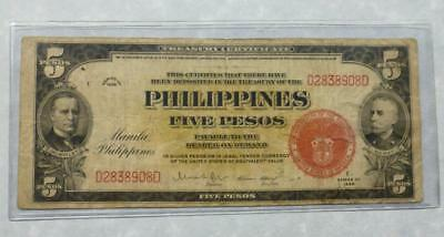 1936 C Philippine 5 Pesos USA RED SEAL Silver Pesos or Legal Tender of the USA