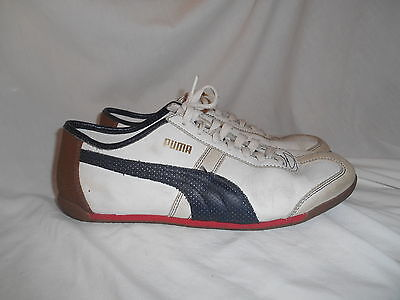 PUMA Vintage Shoes Women's Leather White Blue  Size: 7.5 ~ Bought in the UK
