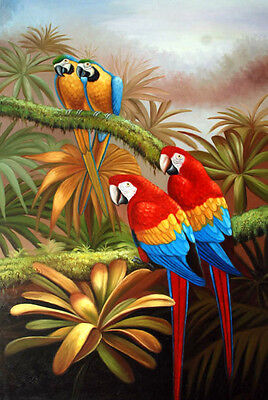 """100% Handmade Oil painting 2 Macaw Birds painting on canvas 24""""x36"""" H6"""