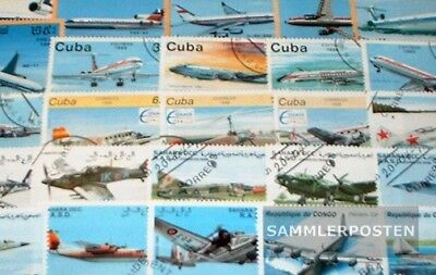 Thematics 100 different Aircraft stamps