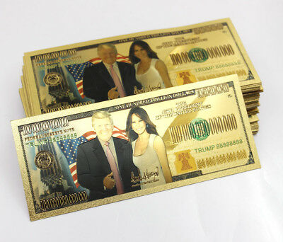 10 Pcs Donald and Melania Trump Gold Banknotes US Money Crafts One Trillion Gift