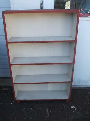 White Red Painted Bookcase Book Shelf Vintage