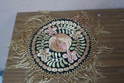"""Vintage Hungarian Matyo Doily Hand Embroidered 8"""" + 3"""" Fringe Silk Embroidery"""