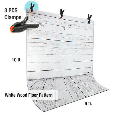 6ft x 10ft Studio Wood Floor Background Muslin Non Reflective w/ 3 Spring Clamps