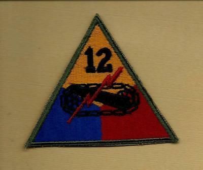 """Original Ww2 Us Army 12Th Armored """"hellcat"""" Division Od Border Patch"""