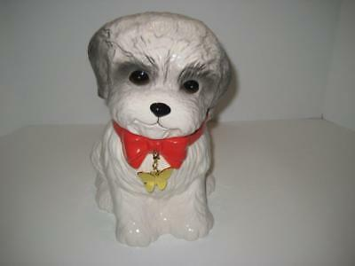 Rare Neiman Marcus YUYU Maltese Puppy Dog Cookie Jar with Butterfly Dog Tag
